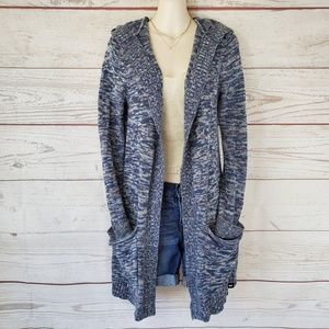 Roxy cotton knit hooded cardigan with pockets